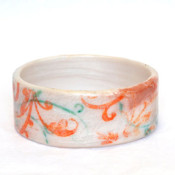 Rustic Orange and Green on Pearl Polymer Clay Bangle Bracelet FORGOTTEN LETTER Boho Chic