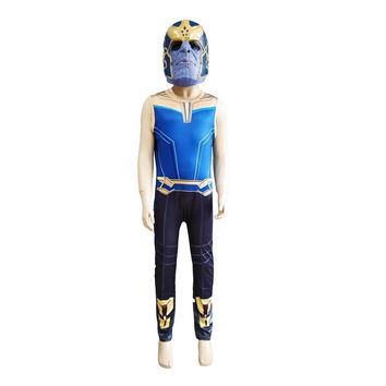 Thanos Cosplay Costumes Boy Bodysuit Kids Fancy Party Cosplay Infinity War Jumpsuits Halloween Clothes Children Avengers Costume