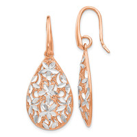 Leslies Sterling Silver Rose Gold-toned Polished Textured Earrings QLE521