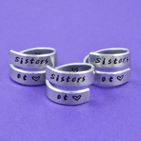 Sisters at heart - Hand Stamped Spiral Ring Set (3 Rings), Pure Aluminum Ring, Best Sisters Gift, Gift For Sorority Sisters