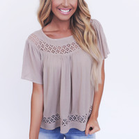 TAUPE SCOOP NECK/CROCHET BLOUSE