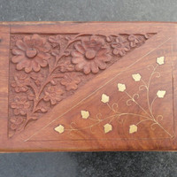 hand carved wooden box 7 by 5 inches/Rosewood carved box/floral wooden box/Wooden Box with Gold Inlay and Hand-carving, Hinged Treasure Box