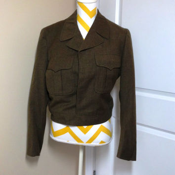 Vintage 1957 Military Issue Wool Serge Men's Ike Jacket or Coat, Size 38, Army Green
