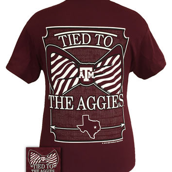 Texas A&M Aggies Tied To Big Preppy Bow Girlie Bright T Shirt