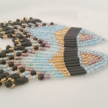 Native American Inspired Fringe Earring,Boho Earring,Tribal Ethnic Earring,Seed Bead Blue Black Gold Earring,Beadwork,Dangle Earring,For Her