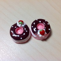 2 pcs Strawberry Donuts with Chocolate Frosting Cabochon Flatbacks 19 x 19 mm
