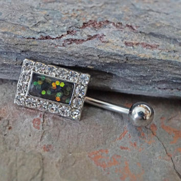 Opal Belly Button Rings Square Black Opal Belly Ring