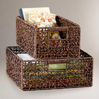 Espresso Collapsible Seagrass Baskets