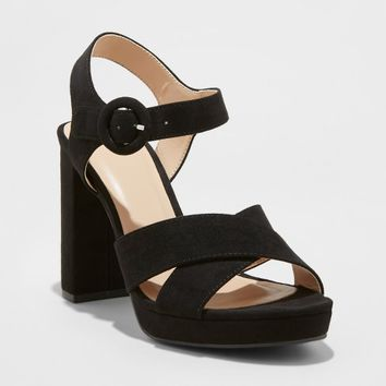 Women's Fiona Crossband Platform Ankle Strap Sandals - A New Day™ Black