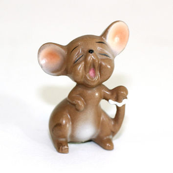 Vintage Josefs Originals Singing Mouse | Made in Japan | Mouse Figurine | Little Brown Mouse with Open Mouth | Josefs Mice Series