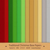 Traditional Christmas Base Papers Digital Scrapbook Background Textured Printable Pack Commercial Use Graphics Red Green Brown Silver Grey