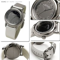 Marc Jacobs~Marci Mirror~MBM1220~Silver Gray Metallic Leather~Womens Watch~$175