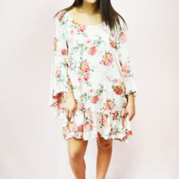 in the mix floral bell sleeve dress - cream/multi