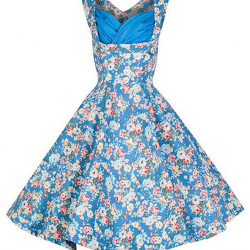 Blue Floral Print Ruched Neckline Sleeveless Tent Dress