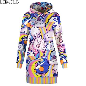 LEIMOLIS Rainbow Unicorn print Streetwear long dress hoodies women punk rock hip hop gothic harajuku kawaii sweatshirt Pullovers