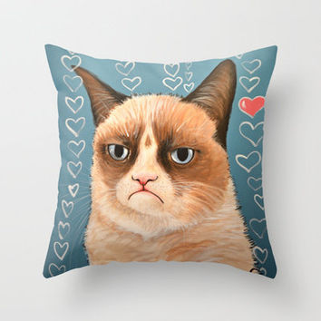 Grumpy Cat ... Love You Throw Pillow by Amy Giacomelli | Society6
