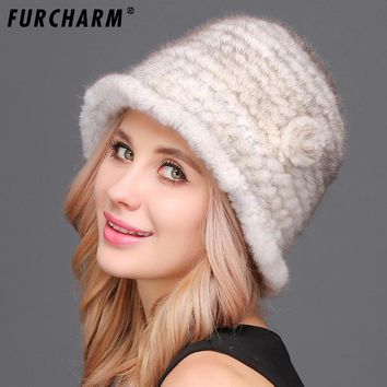 Mink Fur Hats for Women 100% Real Fur Knitted Bucket Cap with Flowers Elegant Women's Knitted Fedora Cap for The Winter