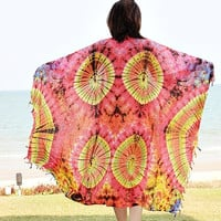Colorful Tie Dye Mandala Scarf and Shawl Boho Gypsy Yoga Hippie Cover Up Beach Fashion BK11