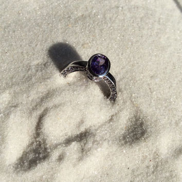 Sterling silver reversible Ring with purple stone, High polished sterling silver with modern shape, original design