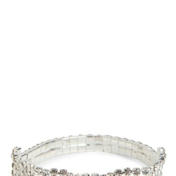 Wide Rhinestone Stretch Bracelet