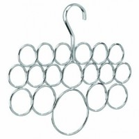InterDesign Axis Scarf Hanger, No Snag Storage for Scarves, Ties, Belts, Shawls, Pashminas, Accessories - 18 Loops, Chrome