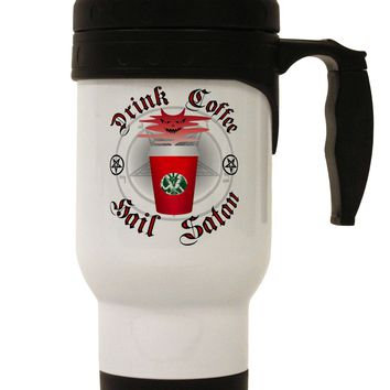 Red Cup Drink Coffee Hail Satan Stainless Steel 14oz Travel Mug by TooLoud