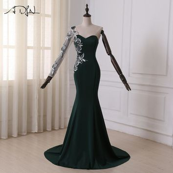 ADLN In Stock Mermaid Evening Dress Sweetheart Long Sleeves Applique Stones Formal Dress Party Prom Dress Sweep Train