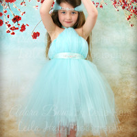 NEW Tiffany blue lt aqua halter tutu high low tutu dress + rhinestone halo bridesmaid flower girl photography girls kids child toddler