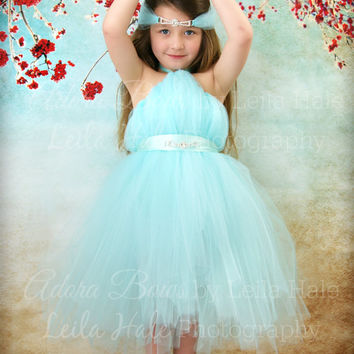 Shop aqua flower girl dresses on wanelo new tiffany blue lt aqua halter tutu high low tutu dress rhinestone halo bridesmaid flower mightylinksfo