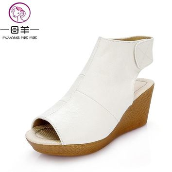 New fashion 2017 summer shoes woman genuine leather wedge sandals open toe casual wedges women platform sandals women sandals