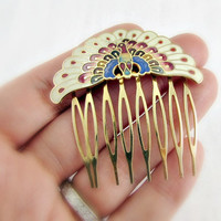 Vintage Cloisonne Enamel Hair Comb, Ornate Peacock Hair Comb, Gold Plated Hair Comb, Art Nouveau Hair Comb, 1980s Fashions, Hair Accessory