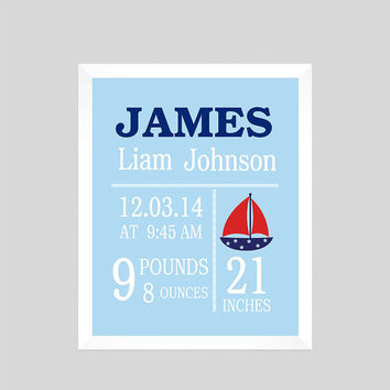 Personalized Birth Stats on Light Blue Background Print Sailboat CUSTOMIZE YOUR COLORS 8x10 Prints Nursery Wall Decor Baby Room Decor Kids