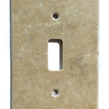 Light Walnut Travertine Single Toggle Switch Wall Plate / Switch Plate / Cover - Honed