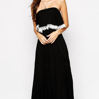 Black Strapless Fringed Maxi Dress