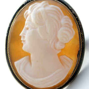 Antique Carved Cameo Brooch Pendant Left Facing