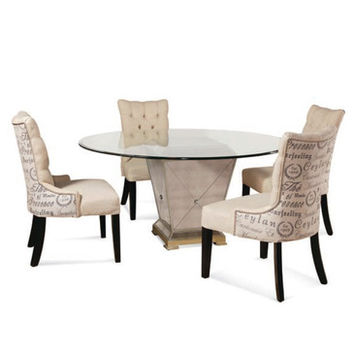 Bassett Mirror 8311 Borghese Mirrored 5 Piece Round Dining Room Set