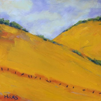 CALIFORNIA GOLD II - 12 x 12 - Oil Painting - Original - Landscape - Golden Hills - Orange - Purple - Wall Hanging - Honeystreasures