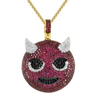 Custom Angry Devil Iced Out Circle Emoji Pendant Chain