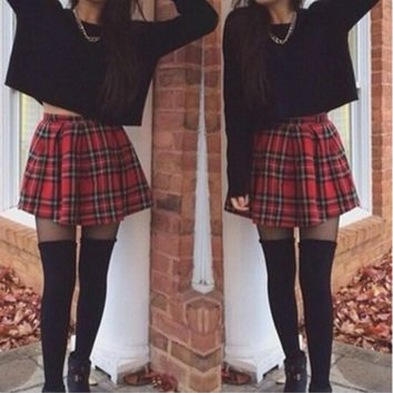 Women summer plaid skirts red plaid England style cotton vintage women skirts pleated skater tutu mini skirts female saia faldas