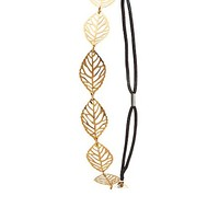CUT-OUT LEAF METAL STRETCH HEADBAND