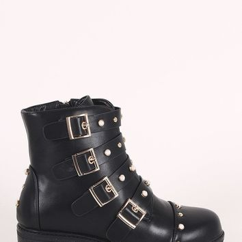 Faux Pearl Buckled Strap Moto Ankle Boots