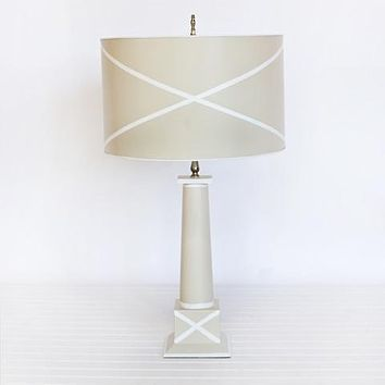 "Worlds Away Tole ""X"" Shade Lamp"