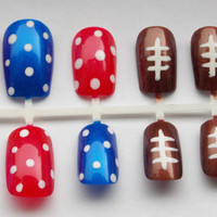 Football Fake Nails for ANY TEAM - False, Artificial, Acrylic, Press-On