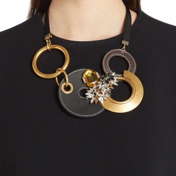 Marni 'Strass' Leather, Brass & Crystal Statement Necklace | Nordstrom
