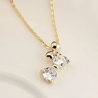 Bow on Bow Rhinestone Necklace - LilyFair Jewelry