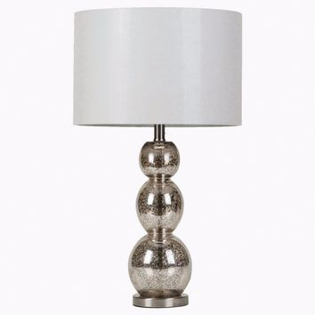 Adorning Metallic Table Lamp, White And Silver-Coaster