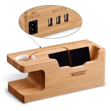 Tendak Apple Watch Charging Stand - with 3 USB Port Bamboo Wood USB Charging Station for 38mm and 42mm Apple Watch & iPhone 6 6 plus 5S 5 7 7 plus and Other Smartphone