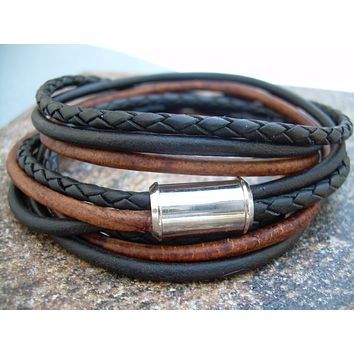 Mens Triple Wrap Leather Bracelet with Stainless Steel Magnetic Clasp, Mens Bracelet, Mens Jewelry, Fathers Day Gift, Groomsmen, Groom