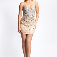 Dave & Johnny 8432 Nude Cocktail Dress