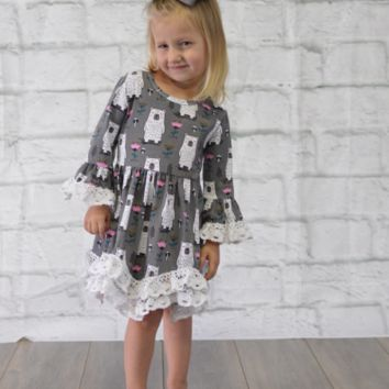 Lace Trim Kids Bear Dress